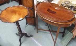 A mahogany tripod occasional table, oval occasional table, tray and cake stand (4) Condition Report: