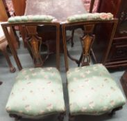 A pair of inlaid parlour chairs and an occasional table (3) Condition Report: Available upon