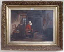 An oil on canvas of an old lady in cottage Condition Report: Available upon request