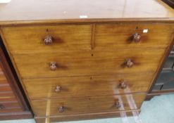 A Victorian two over three chest of drawers, 108cm high x 107cm wide x 53cm deep Condition Report: