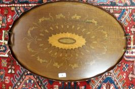 A floral inlaid tray with brass handles Condition Report: Available upon request