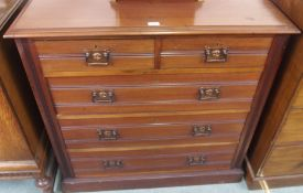 A mahogany two over three chest of drawers with copper handles, 100cm high x 103cm wide x 49cm