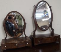 Two mahogany toilet mirrors with drawers (2) Condition Report: Available upon request