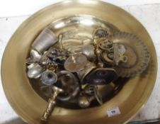 A brass charger and assorted brassware Condition Report: Available upon request