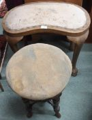 An adjustable piano stool and a dressing stool with hairy paw feet (2) Condition Report: Available