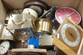 A box of modern and vintage clocks Condition Report: Available upon request