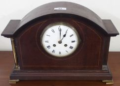 An Edwardian mahogany inlaid mantle clock Condition Report: Available upon request