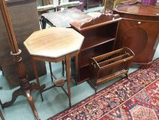 A mahogany window table, torchere etc (5) Condition Report: Available upon request