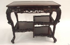 A CHINESE HARDWOOD OCCASSIONAL TABLE the rectangular top above A pierced frieze of blossoming