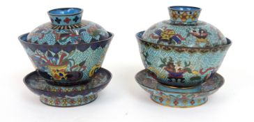 A PAIR OF CHINESE CLOISONNE BOWLS, COVERS AND STANDS decorated with precious objects on key