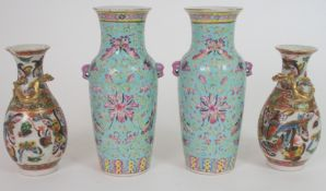 A PAIR OF CHINESE LILAC GROUND VASES paainted with butterflies, peonies and scrolling foliage,