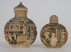 A CHINESE CARVED AND STAINED IVORY SNUFF BOTTLE decorated with figures on balconies and children