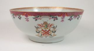 A CHINESE ARMORIAL PUNCH BOWL painted with two coats of arms for Lennox, beneath diaper,flowers