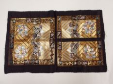 FOUR CHINESE EMBROIDERED SILK RANK BADGES and other panels, 19th/20th century, (15) Condition