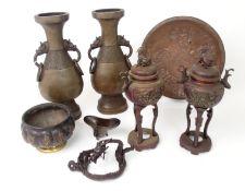 A BRONZE LOBED VESSEL cast with grotesque animals, 12cm diameter, Japanese antimony cast dish, 24.