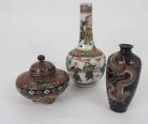 A CHINESE FAMILLE VERTE BALUSTER VASE painted with figures in a garden, 20cm high, a Japanese