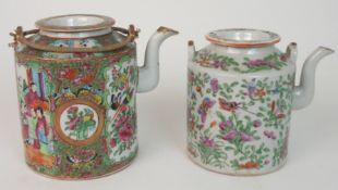TWO CANTONESE FAMILLE ROSE TEA POTS one with figures in panels, divided by foliage and birds, wire