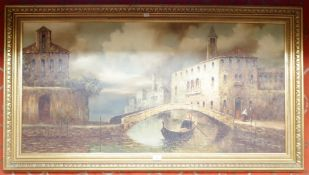 """A large oil on board of Venice """"I Costello"""", 59cm x 120cm Condition Report: Available upon request"""