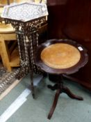 A Moorish hexagonal side table and a wine table (2) Condition Report: Available upon request