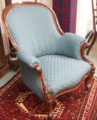 A Victorian mahogany carved armchair Condition Report: Available upon request