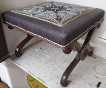 A Victorian rosewood x-frame stool Condition Report: Available upon request