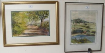 """A woodland walk at Mugdock"" watercolour, Jim Lawson and a watercolour by Stuart Paterson,"