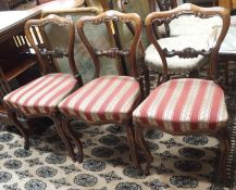 Three Victorian rosewood balloon back chairs and a firescreen (4) Condition Report: Available upon