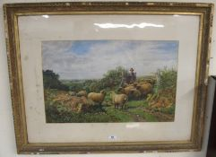 A G Shalders 66 print of shepherd boy and flock of sheep Condition Report: Available upon request