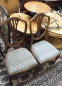 A pair of mahogany parlour chairs and two occasional tables (4) Condition Report: Available upon