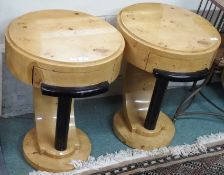 A pair of Art Deco style side tables, 65cm high x 50cm deep (2) Condition Report: Available upon