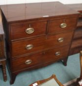 A George III mahogany two over two chest of drawers on bracket feet, 91cm high x 91cm wide x 50cm
