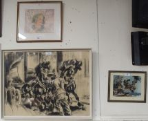 A signed charcoal of horses and wagon and two other pictures (3) Condition Report: Available upon