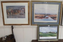 """Two signed prints of Old Saybrook, Conneticut and a James Morrison """"Saltmarsh"""" signed print (3)"""