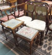 Two Victorian mahogany balloon back chairs, firescreen, stool and side table (5) Condition Report: