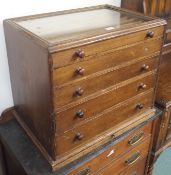 A Victorian pine collectors cabinet with glass top and five graduating drawers, 52cm high x 62cm