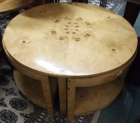 A burr wood circular table with two nesting tables, 48cm high x 90cm diameter Condition Report: