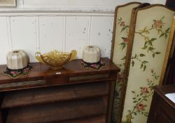 A four-fold floral pained screen, 145cm high, a pair of shades and a glass bowl (4) Condition