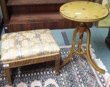 A Victorian beechwood fluted footstool and a painted side table on tripod base (2) Condition Report: