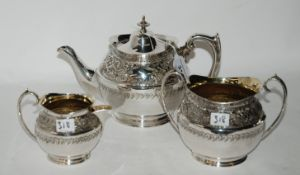 A three piece silver plated tea service Condition Report: Available upon request