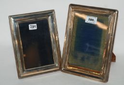 A lot comprising two silver mounted photo frames, Birmingham 1922 and 1996, 22cm x 16.5cm,
