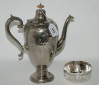 A lot comprising a silver plated coffee pot (def) and a continental white metal bowl set with a