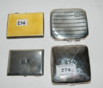 A lot comprising two silver cigarette cases, a silver and enamel case and a silver compact, 190gms