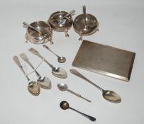 A lot comprising a pair of silver salts, London mark, a single salt, London 1907, a silver cigarette