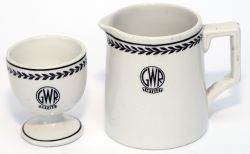 GWR black leaf china consisting of an Egg Cup and a small Milk Jug. Both are in excellent