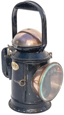 GWR 3 Aspect Copper Top handlamp stamped on the side GWR SWINDON S.B. and brass plated 1543.