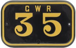 GWR cast iron cabside numberplate GWR 35 ex Rhymney Railway 0-6-2 T built by Hudswell Clarke in 1921