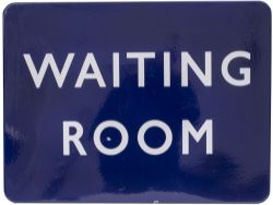 BR(E) FF enamel railway sign WAITING ROOM measuring 24in x 18in. In very good condition.