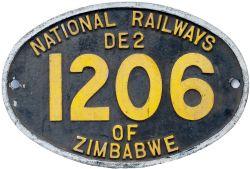 Zimbabwe Railways cast aluminium cabside numberplate NATIONAL RAILWAYS OF ZIMBABWE DE2 1206 ex