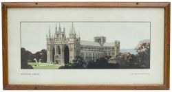 Carriage Print PETERBOROUGH CATHEDRAL by Fred Taylor from the LNER Pre-War Series. In original frame