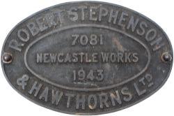 Worksplate ROBERT STEPHENSON & HAWTHORNS LTD NEWCASTLE WORKS 7081 1943. Supplied to Colvilles Ltd
